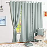 Story@Home Faux Silk Room Darkening Blackout Curtain Set of 1 with Tie Back Solid Window Curtain - 5 Feet, Grey