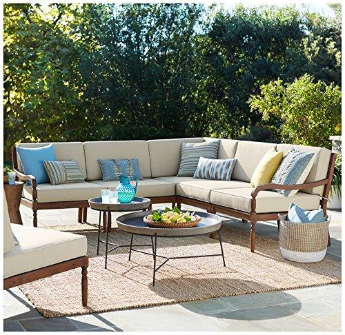 Napa Modular Dark Natural Wood 5-Piece Outdoor Seating Set