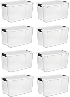 product image for Sterilite 70 Quart Ultra Latch Storage Box with White Lid & Clear Base (8 Pack)
