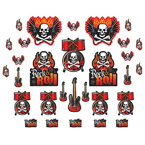Rock On Heavy Metal Themed Party Assorted Cutouts , Mega Value Pack - Themed Metal
