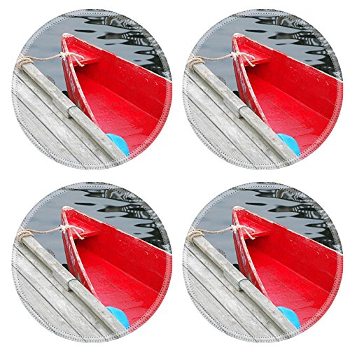 Liili Natural Rubber Round Coasters IMAGE ID: 462835 Old red row boat tied to a pier in Perkins Cove - Row Perkins