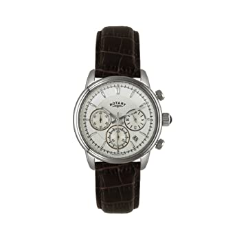 c7181501dc8 Rotary Men s Quartz Watch with White Dial Chronograph Display and Brown Leather  Strap GS02876 06