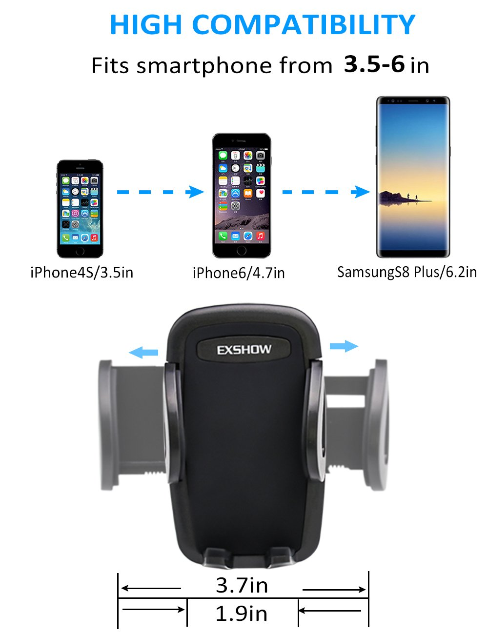 EXSHOW Car Mount,Universal Windshield Dashboard 8.5 inch Long Arm Car Phone Mount for iPhone X/8/7/6S/6 Plus/5S/5, Samsung Galaxy S6 S5, Nexus 5X/6P, LG, HTC and All Smartphones 3.5-6 inch(Black) by EXSHOW (Image #3)