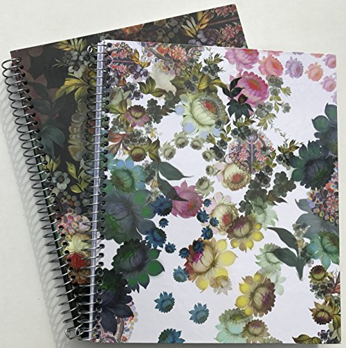 Cynthia Rowley 2-Pack Hardcover Spiral Notebooks - Spring Flowers Burst, 3-Ring Binder Holes from Cynthia Rowley
