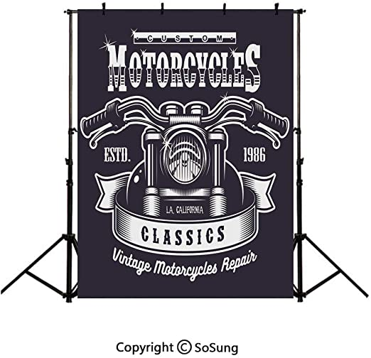 8x12 FT Motorcycle Vinyl Photography Backdrop,Sketch Art Style Choppers Old School Vehicle with Rusty Gears and Engine Background for Party Home Decor Outdoorsy Theme Shoot Props