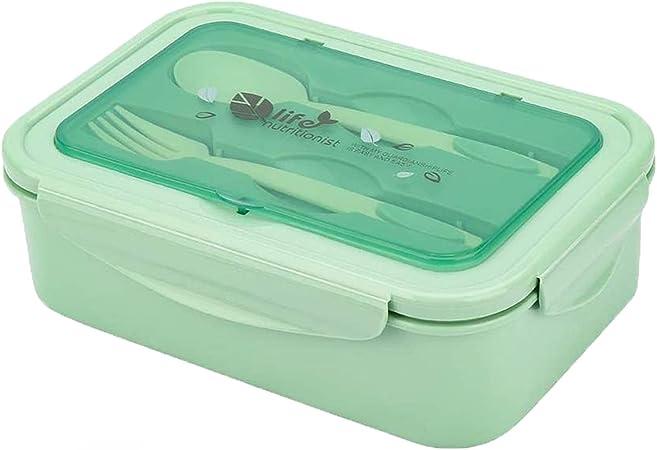 Caja de almuerzo, caja de Bento, 1000 ml, caja de Bento con 3 compartimentos y cubiertos,
