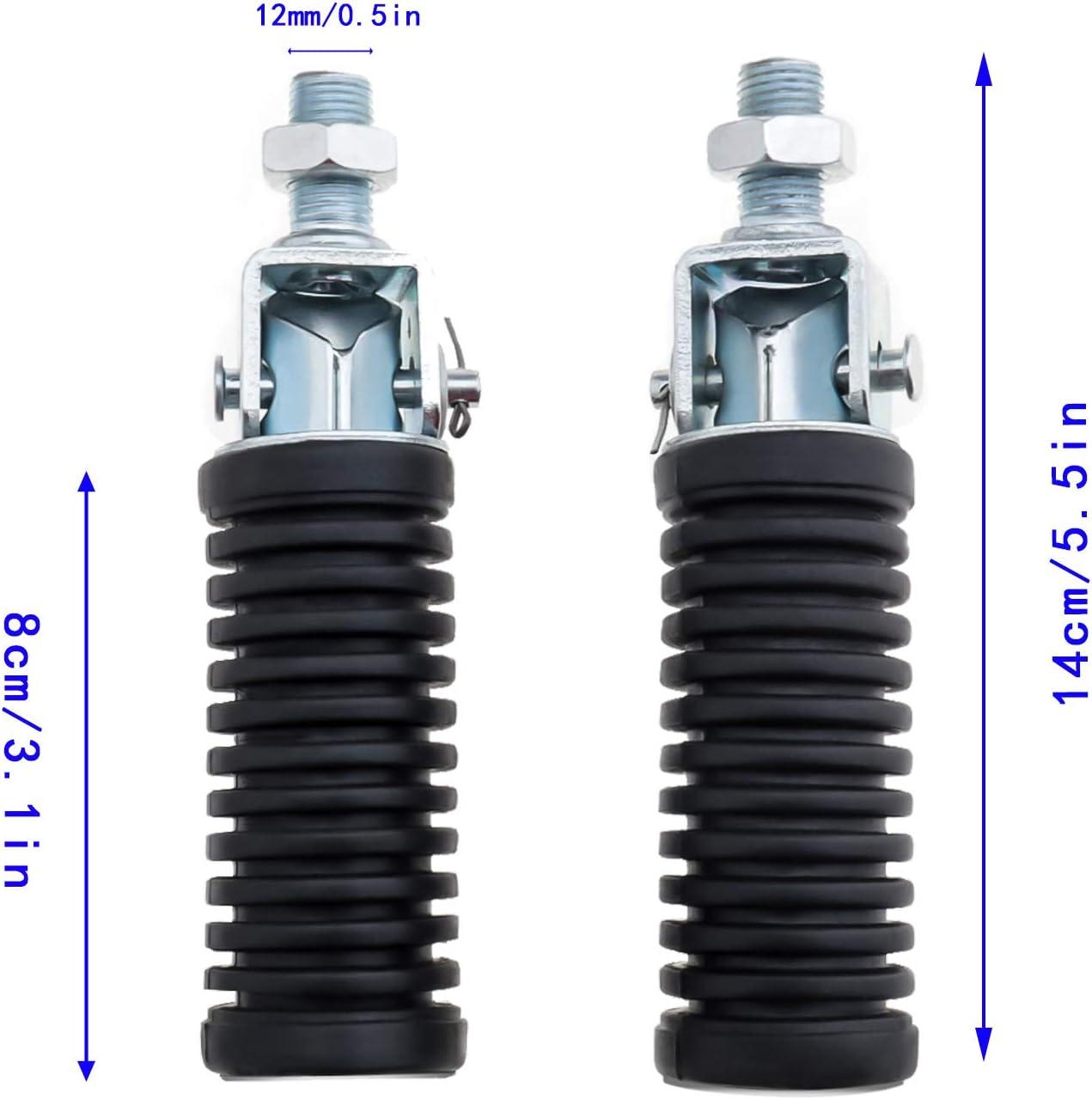 rosca 12 mm Par de reposapi/és para pasajero plegables universales para moto reposapi/és trasero aluminio izquierdo y derecho