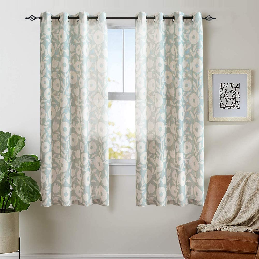 Vangao Floral Printed Curtains for Bedroom 63 inches Long Linen Textured Window Treatment Vintage Printed Living Room Curtains Grommet Top, 2 Panels, Sage and White