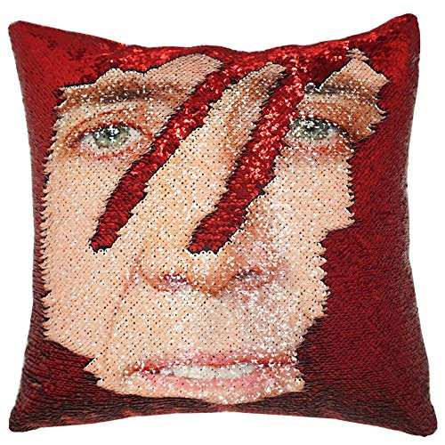 URSKYTOUS Reversible Nicolas Cage Sequin Pillow Case Decorative Mermaid Pillow Cover Color Changing Cushion Throw Pillowcase 16