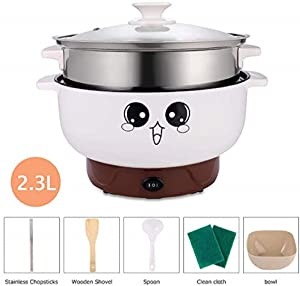 ELEOPTION 4-IN-1 Multifunction Electric Cooker Skillet Grill Pot Wok Electric Hot Pot for Noodles Cook Rice Fried Stew Soup Steamed Fish Boiled Egg Small Non-stick (2.3L, with Lid and Steamer)