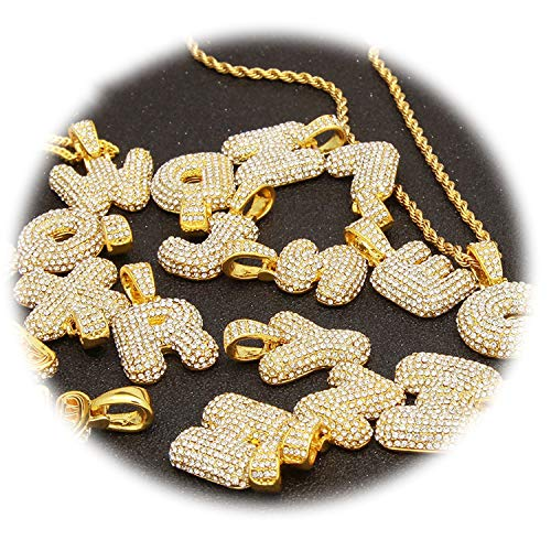 Dreamedge Custom Bubble Letters Name Pendant Iced Out Gold Silver Rosegold Rhinestone Hip Hop Necklaces Jewelry Gift,Q,Gold,30 inch Rope Chain