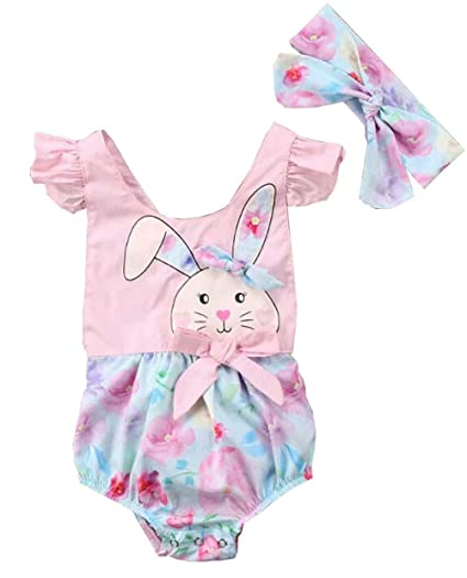 8d6cb3771346 Amazon.com  Newborn Baby Girls Floral Fly Sleeve Romper Easter Bunny ...