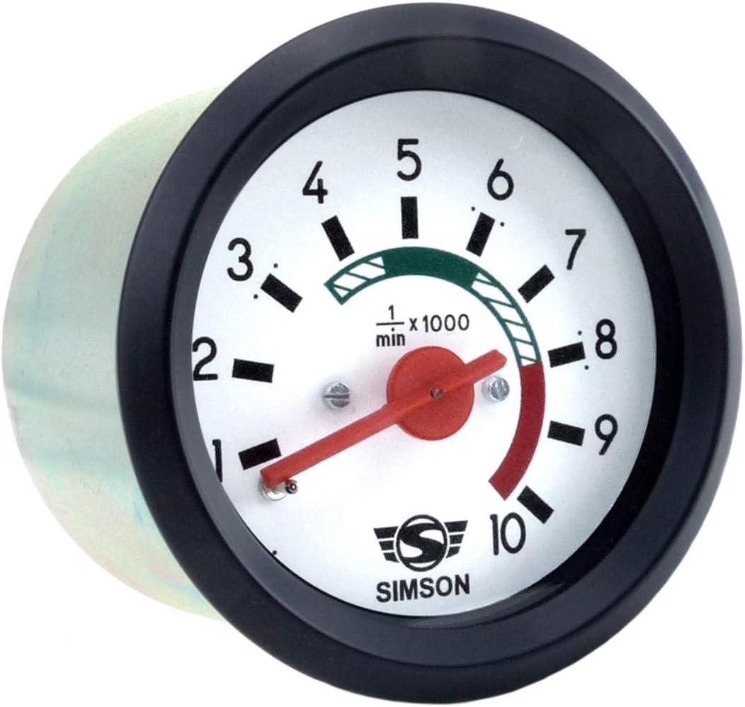 Drehzahlmesser Ø60mm Mit Beleuchtung Und Masseanschluss 12v Roter Zeiger Weißes Ziffernblatt Simson Logo Auto