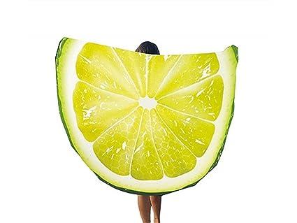 kxrzu Gracioso Patrones de limón fruta impresa ronda toalla de playa manta liviana 148x148cm