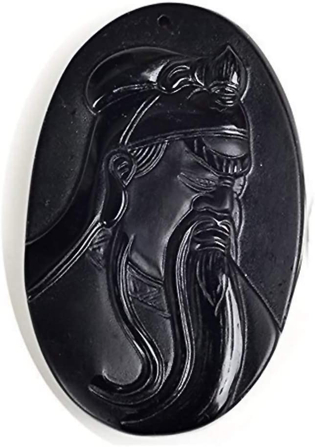 """Natural Black Obsidian /""""Guan Yu/"""" Guangong Amulet Pendant With Beads Necklace"""