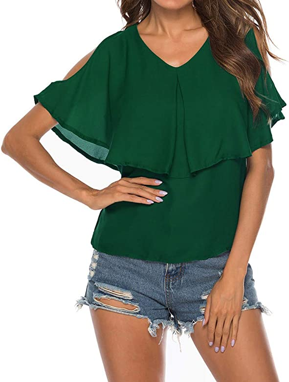 Plus Size Womens Blouse Cold Shoulder Ladies Summer Long Sleeve Loose Tee Tops