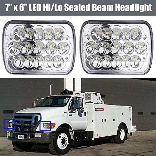 (LED Headlight Conversion Kit 7X6 5x7 Inch Sealed Beam Lights Bulb for Ford Truck F550 F600 F650 F700 F750, Replace H6014 H6052 H6054 Super Bright 6000K White High Low Dual Beam (Package of 2PCS))