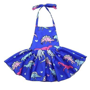 249e244b7b46 Dinlong Summer Clothes Toddler Baby Girls Sleeveless Dinosaur Backless  Sundress Romper Casual Halter Straps Dress (