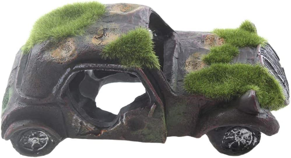 emours Imitation Car Wreck Aquarium Ornament Car Fish Tank Underwater Landscape Decor with Flocking Moss, 6.3 x 3.1 x 2.3inch