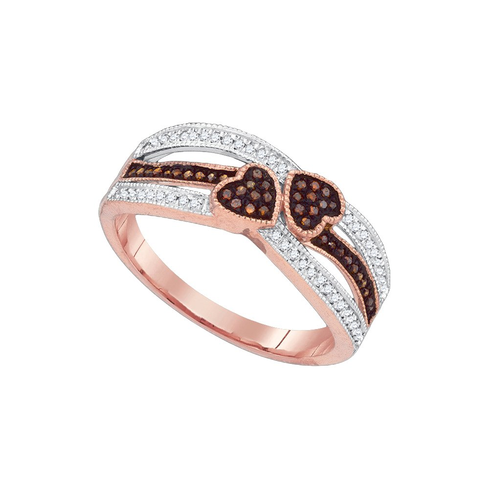 10kt Rose Gold Womens Round Red Colored Diamond Double Heart Love Striped Ring 1/5 Cttw (I2-I3 clarity; Red color)