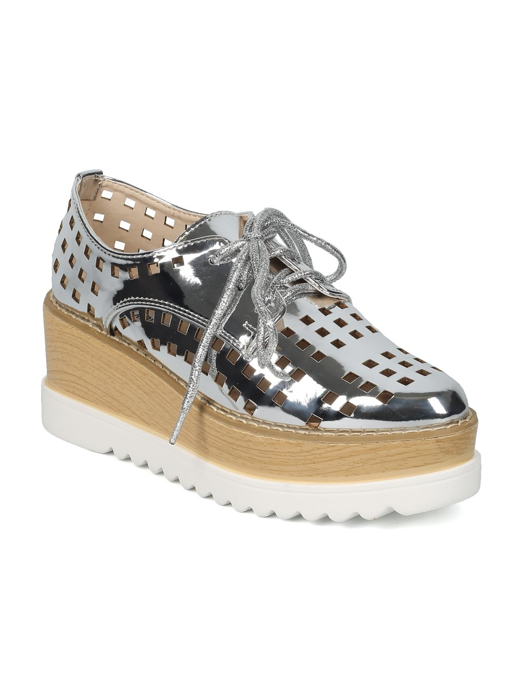 Alrisco Women Perforated Pointy Lace Up Double Stacked Platform Spectator Creeper HF54 - Silver Metallic (Size: 7.0) by Alrisco (Image #4)