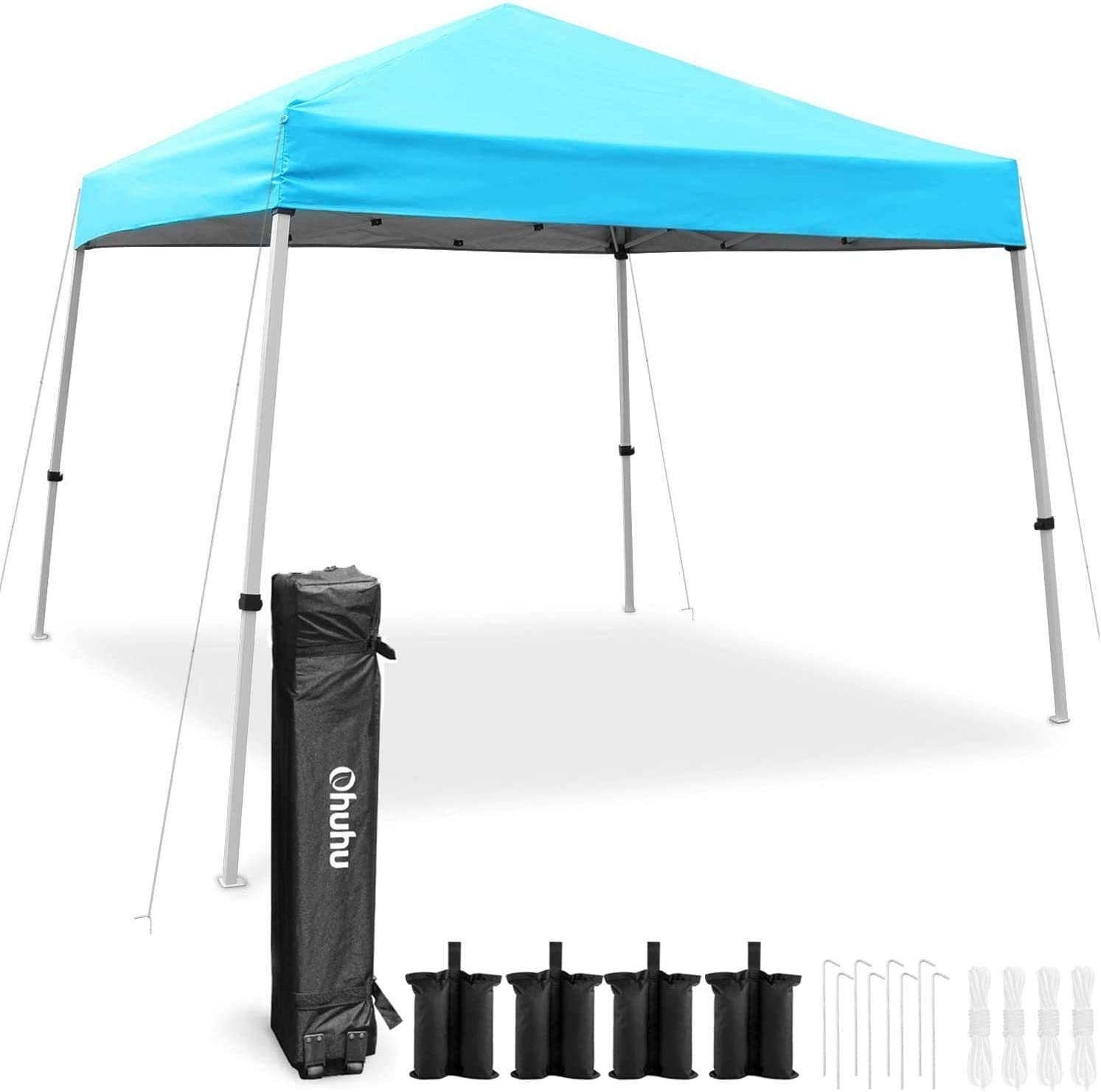 Ohuhu EZ Pop-Up Canopy Tent with Weight Bags Ropes Pegs, Slant Leg 10×10 FT Light Duty Reinforced Steel Frame Commercial Instant Shelter with 3 Adjustable Heights Easy-Carrying Wheeled Carry Bag
