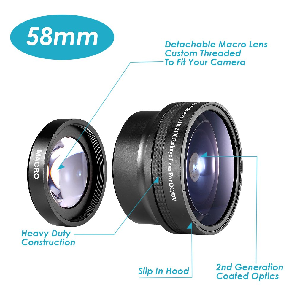 Neewer Photography 58mm AF 0.21X Wide Angle + Fish-eye Lens for Canon Nikon Sony Pentax Olympus and Other DSLR Camera Lens with 58mm Filter Thread 10009031@@