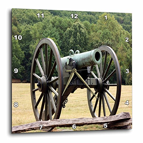 (3dRose dpp_43816_1 Civil War Cannon-Wall Clock, 10 by 10-Inch)