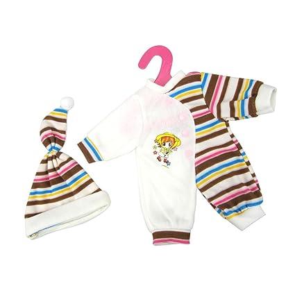 Sharplace Pijamas Ropa de Dormir Mono Jumpsuits + Sombrero para Muñecas 14-16inchs - Café