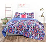 3pc Girls Pink Purple Blue Pink Red Intricate Floral Quilt King Set, Geometric Flowers Bohemian Bedding, Vibrant Bright Scroll Rose Daisy Paisley Flower Themed Pattern