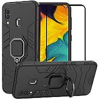 BestMX Funda para Samsung Galaxy A30 / A20 Case Protector de Pantalla de Cristal Templado, Híbrida Rugged Armor Choque Absorción Protección Dual Layer Bumper Carcasa con Pie De Apoyo, Negro