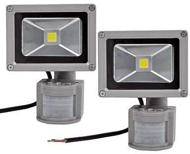 2X 10W Foco LED con Sensor Movimiento, Proyector LED Exterior de ...