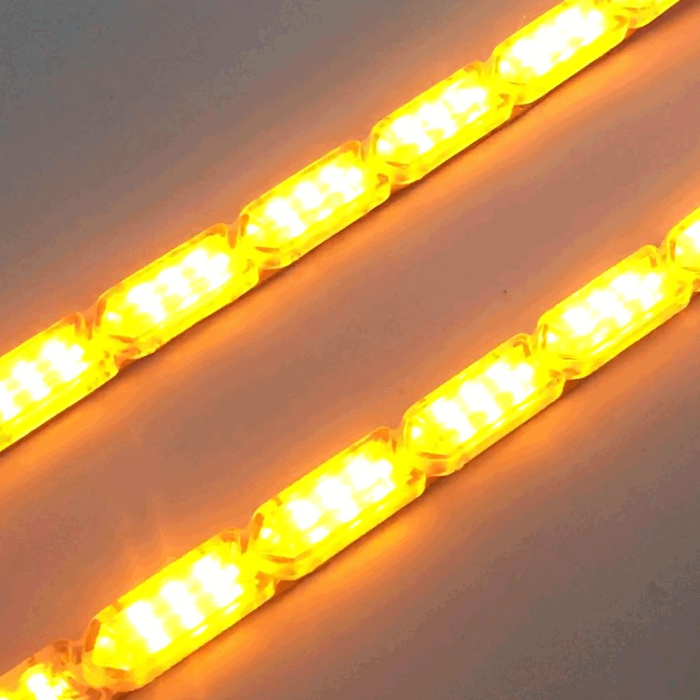XINFOK 2pcs White Yellow Super Bright Car LED DRL Daytime Running light Flowing Runs Style Flexible LED DRL Turning Switchback Headlight 8led 25cm, White and Yellow