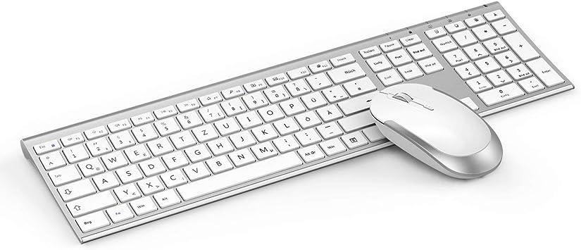Jelly Comb 2.4G Teclado recargable ultradelgado con ratón inalámbrico, diseño alemán QWERTZ para PC / laptop / computadora / Smart TV, blanco y plateado: Amazon.es: Electrónica