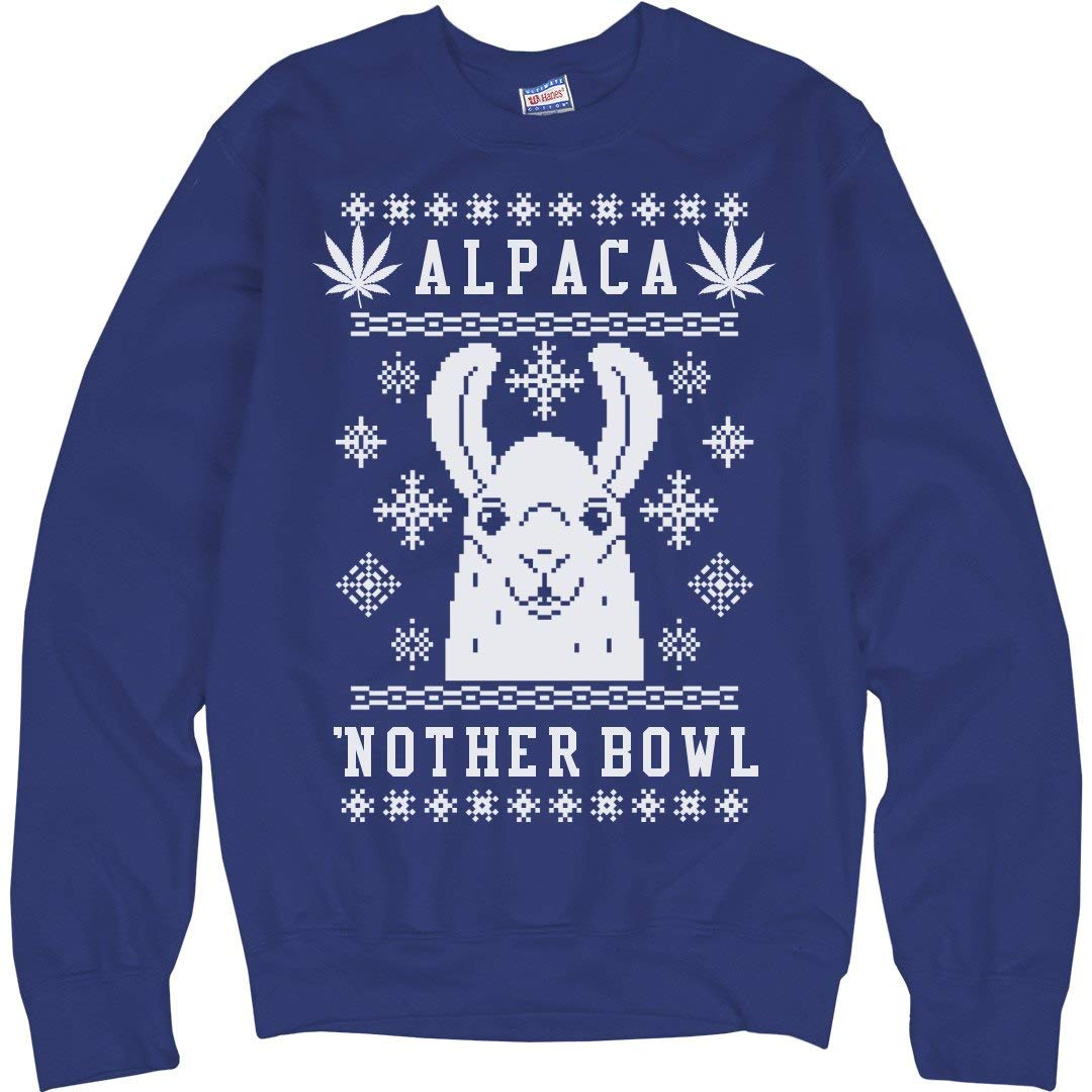 FunnyShirts.org Alpaca'nother Bowl Xmas Weed Llama: Unisex Ultimate Crewneck Sweatshirt