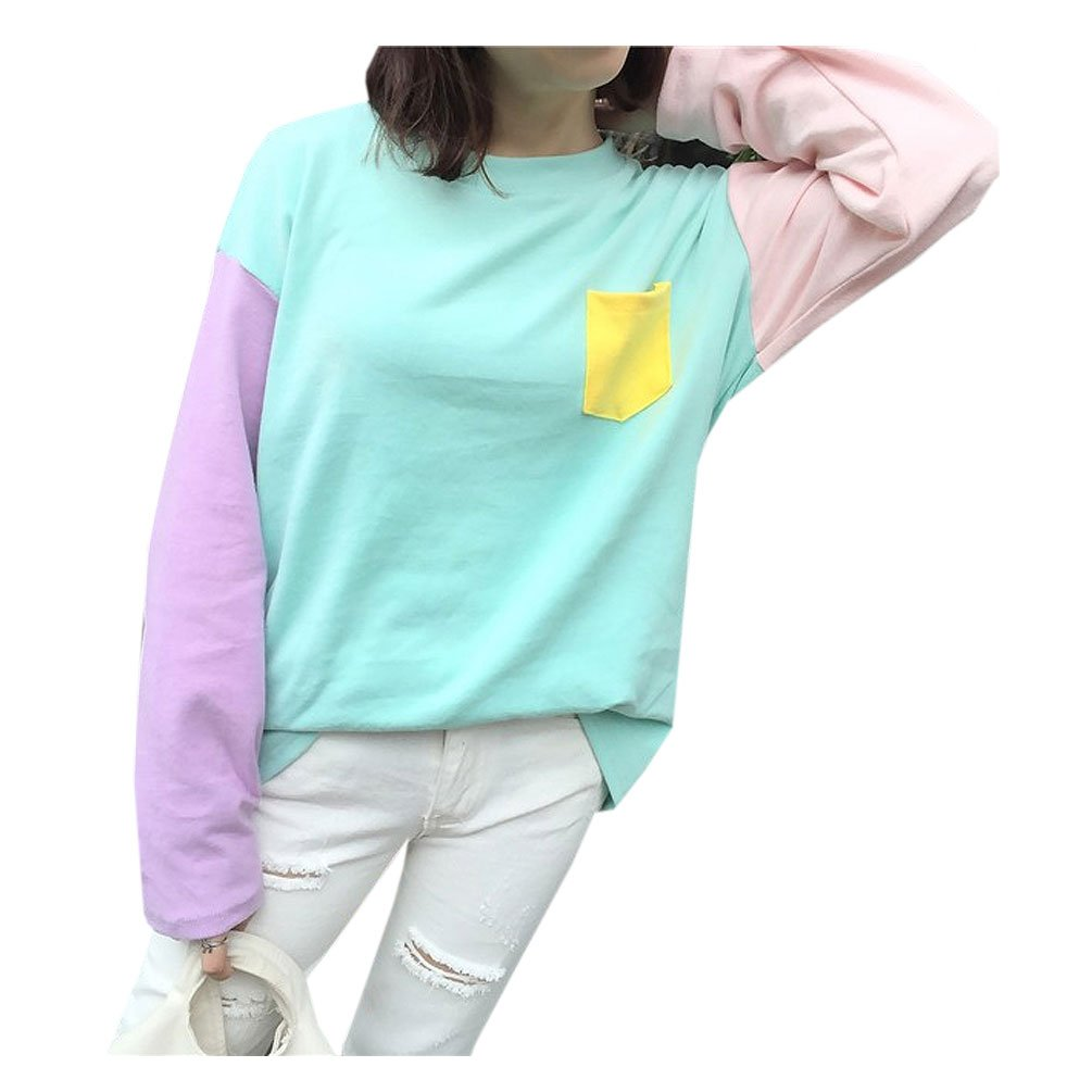 Cute Kawaii Harajuku Blue With Pocket Pullover Crewneck Sweatshirts Size M
