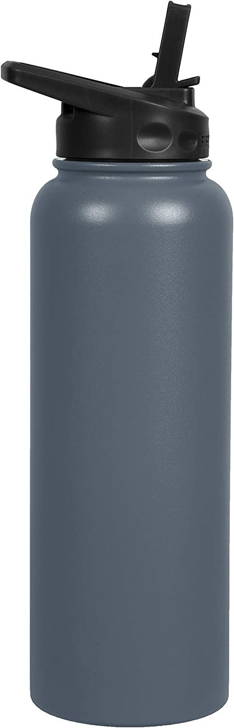FIFTY/FIFTY 40oz, Double Wall Vacuum Insulated Sport Water Bottle, Stainless Steel, Straw Cap w/Wide Mouth, Slate Grey, 40oz/1.1L
