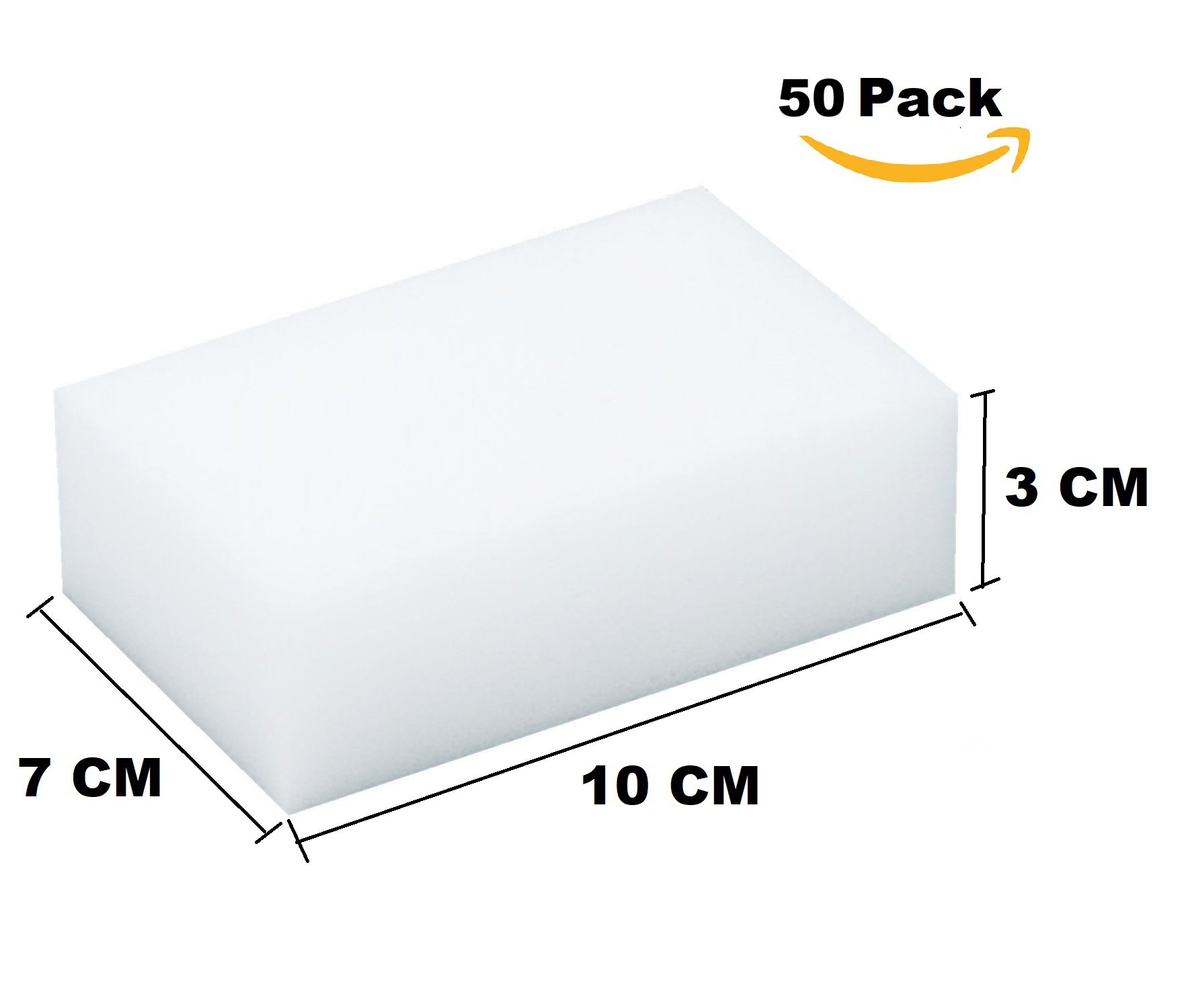 MAGIC CLEANING ERASER SPONGE - EXTRA THICK - 7x3x10 cm - MELAMINE FOAM UNIVERSAL CLEANER FOR DRYWALL, MARBLE, LEATHER, WOOD, METAL. JUST ADD WATER TO CLEAN ANY SURFACE-THE QUALITY SUPPLIERS (50 Pack)