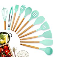 Kitchen Utensil Set Silicone Cooking Utensils, 11pcs Premium Non-stick Natural Beech Wooden Handle, BPA Free Cookware Protect Gift for Mom Family