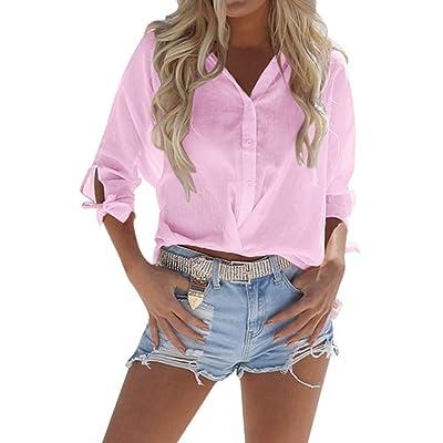 👚👚👚Mujeres Playa SóLido BáSico Cuello En V Camisa Suelta con Botones Cortos, Camiseta Informal Superior, para Tops Mujer Casual-Tops Camisas De Mujer Elegante Y Camisa Desigual: Ropa y accesorios