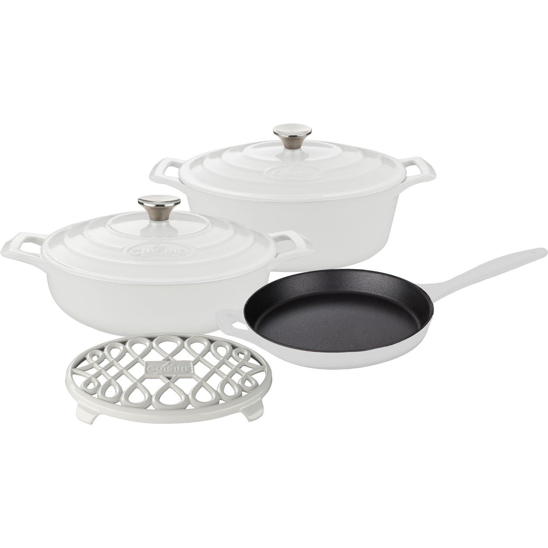 La Cuisine LC 2980 6-Piece Enameled Cast Iron Cookware Set in White (Oval Casserole/Trivet),