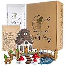 WILD PIXY Fairy Garden Accessories Kit - Miniature House and Figurine Set for Girls, Boys, Adults - with Magical Glow in The Dark Pebbles and Solar LED Lights