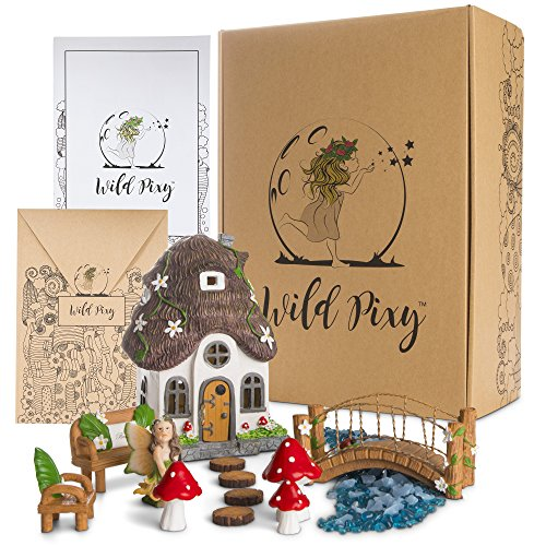 - WILD PIXY Fairy Garden Accessories Kit - Miniature House and Figurine Set for Girls, Boys, Adults - with Magical Glow in The Dark Pebbles and Solar LED Lights