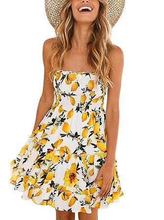 1a7a7c0f8d5 Women s Summer Off Shoulder Lemon Print Casual Short Dress Beachwear White S