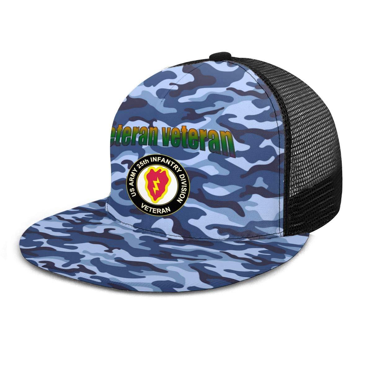 US Army Veteran 25th Infantry Division Classic Grid Hop Flat Along Baseball Hats Snapback Unisex Hat Adjustable