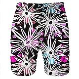 HITRAS Men 3D Graffiti Swimwear Quick Dry Swim Trunks Colorful Swimsuit Beachwear with Pockets