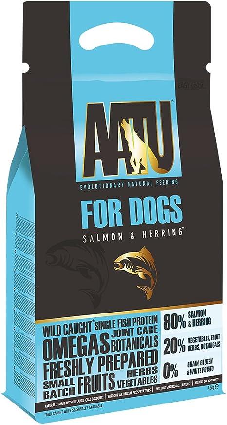AATU 80/20 Alimentos Secos para Perros, salmón, Alto Contenido de proteínas, Receta sin Granos, sin Ingredientes Artificiales, 3 Libras