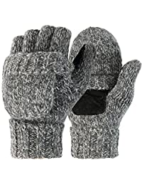 Novawo Unisex Wool Blend Crochet Convertible Fingerless Gloves with Mitten Cover