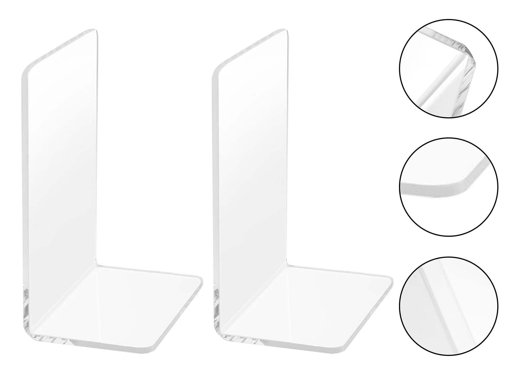 1 Pair/2 Pieces Plastic Acrylic Bookends, Non-Slip Clear Design Bookends for Books, Movies, DVDs, Magazines, Perfect for Bedroom Bookshelf Library School Office, Transparent, 7.3 x4.8inch by Frontoper