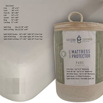 PURE 100% Certified Organic Cotton Jersey Waterproof Mattress Protector (Crib)